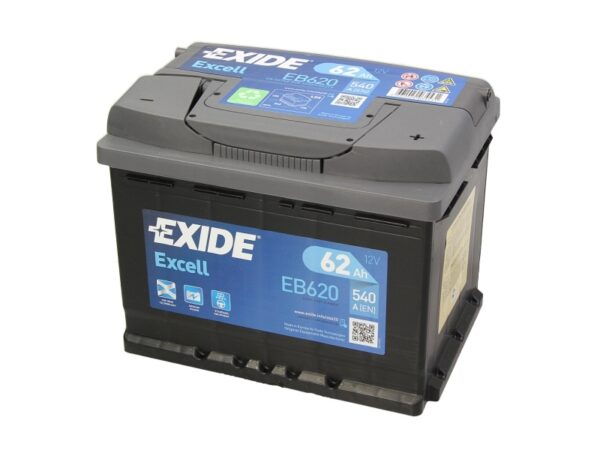 Exide 62 Ач 540А EXCELL / EB620 (-/+)