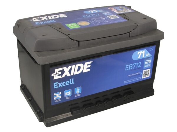 Exide 71 Ач 670А EXCELL / EB712 (-/+)
