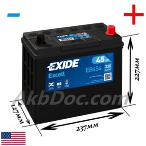 Exide 45 Ач 330А EXCELL / EB454 (-/+)