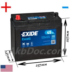Exide 45 Ач 330А EXCELL / EB455 (+/-)