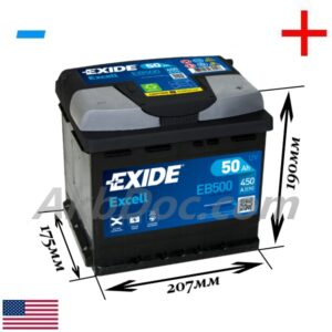 Exide 50 Ач 450А EXCELL / EB500 (-/+)