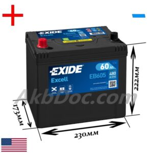 Exide 60 Ач 480А EXCELL / EB605 (+/-)