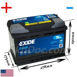 Exide 74 Ач 680А EXCELL / EB741 (+/-)