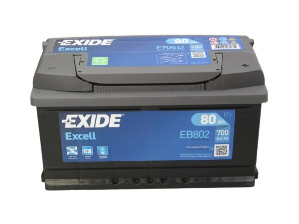 Exide 80 Ач 700А EXCELL / EB802 (-/+)